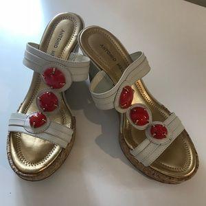 Antonio Milani White Wedge Sandal w/ Coral & Gold